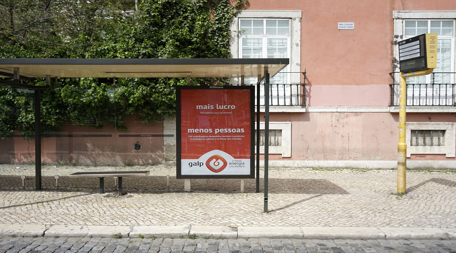 Environmental activists put up mock Galp advertisements in Lisbon on April Fool's day, as a part of international initiative #CleanGasIsADirtyLie   Greensavers (PT)